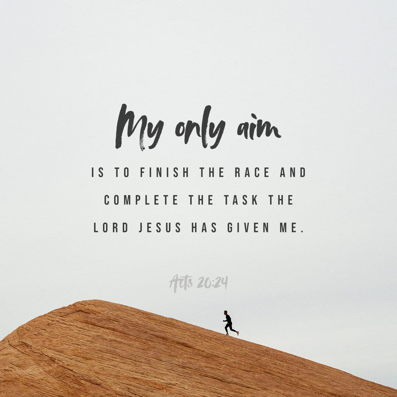 Acts 20:24 However, I consider my life worth nothing to me; my only aim is  to finish the race and complete the task the Lord Jesus has given me—the  task of testifying