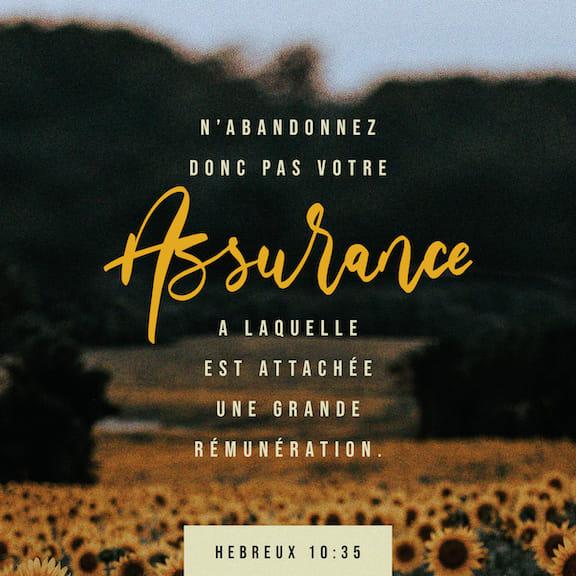 Lettre aux Hébreux 10:35-39 Alors ne perdez pas votre confiance, grâce à  elle, vous recevrez une grande récompense. Vous avez besoin de patience  pour faire ce que Dieu veut et obtenir ce