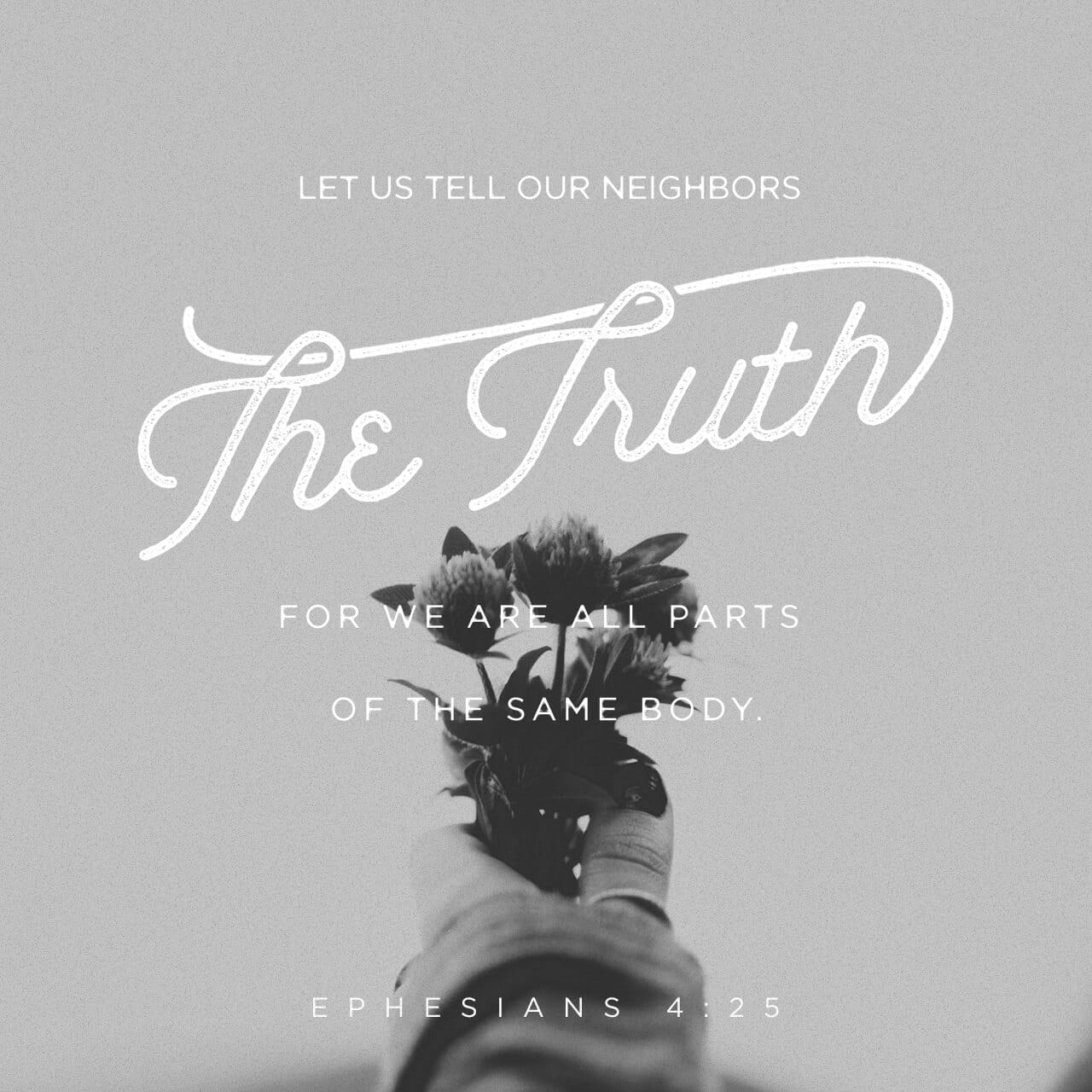 Ephesians 4:25 Wherefore putting away lying, speak every man truth with his neighbour: for we are members one of another. | King James Version (KJV) | Download The Bible App Now